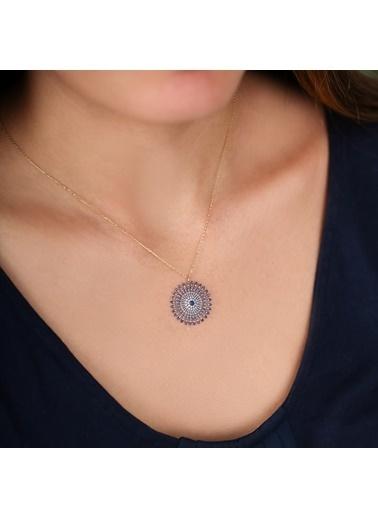 Online Takı Mavi Taşlı Yuvarlak Gümüş Kolye Renkli